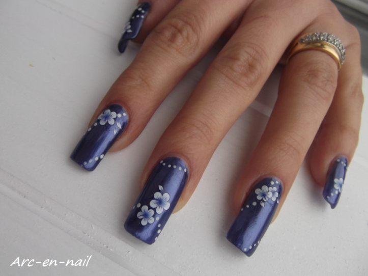 Metallic blue flowers 4