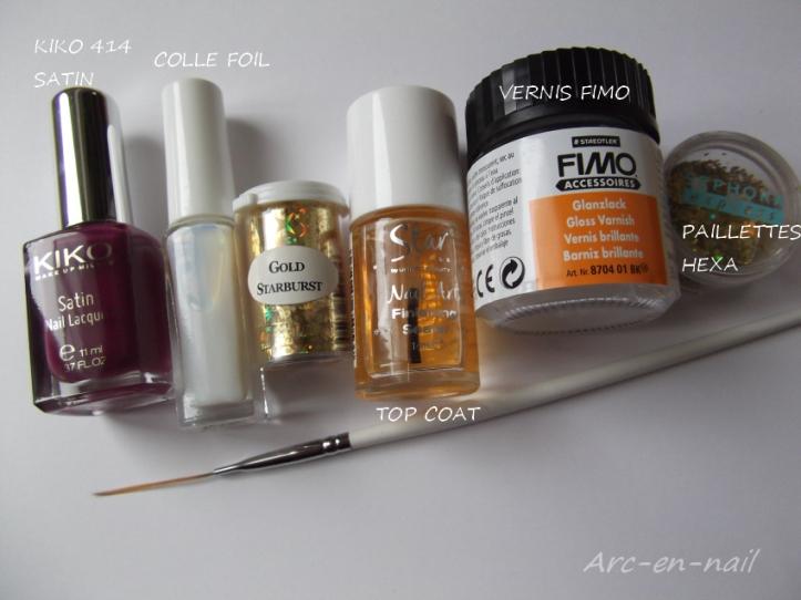 nail art asymetrique & foil materiel