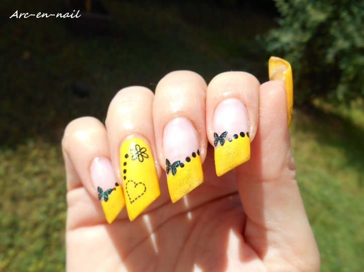 Nail art Yellow french 4