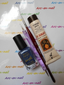 Nail art Liseret blanc & denim materiel