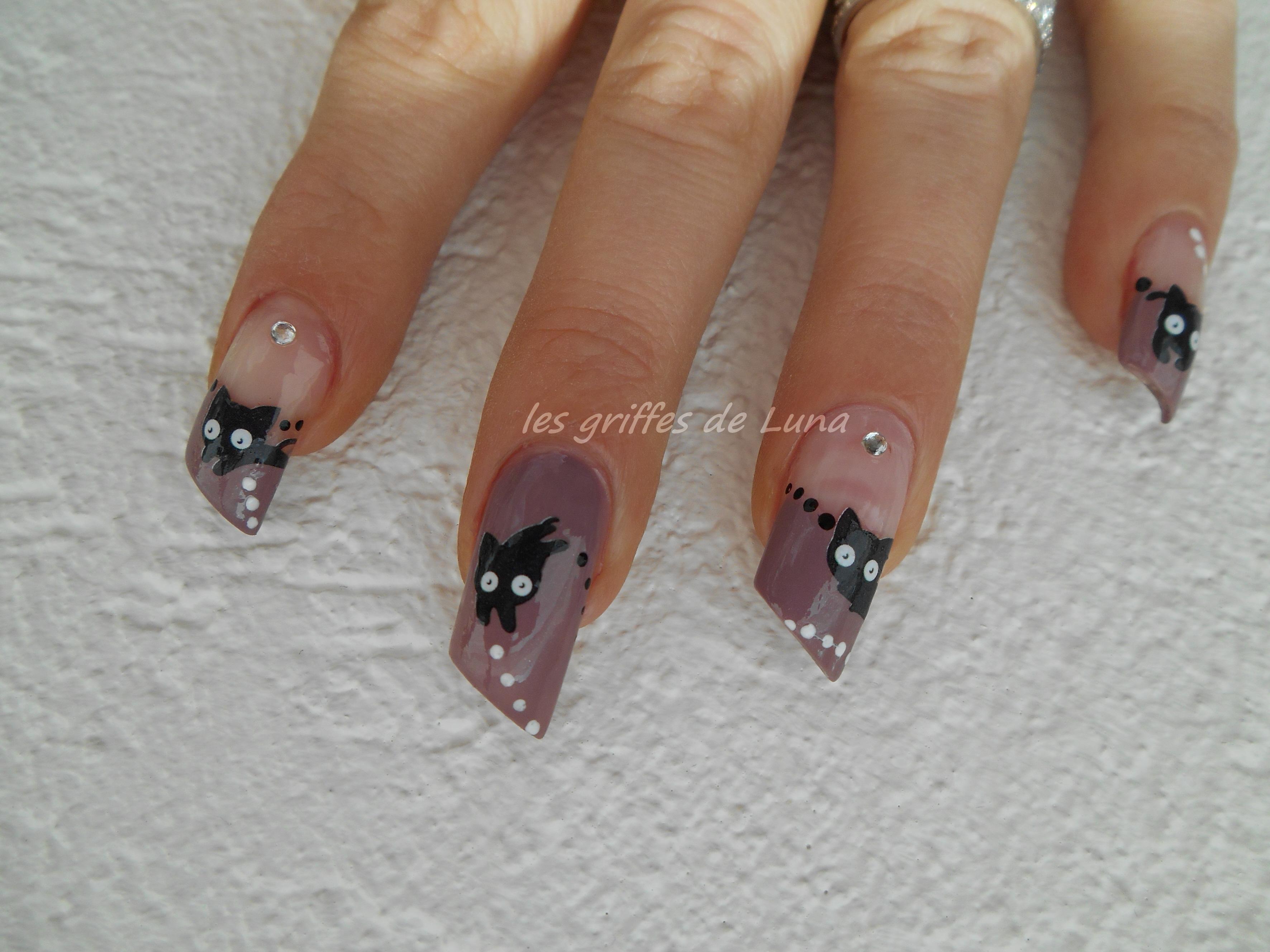 Nail art chat mignon les griffes de luna - Nail art chat ...