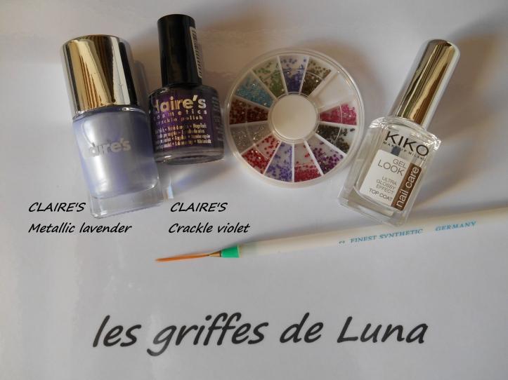 Nail art Purple crakle materiel