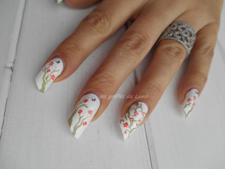 Nail art Cerisier en fleurs 1