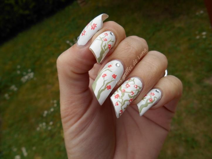 Nail art Cerisier en fleurs 2