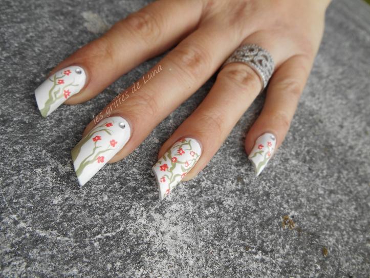 Nail art Cerisier en fleurs 3