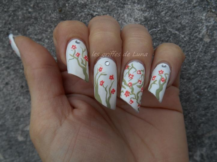 Nail art Cerisier en fleurs 4
