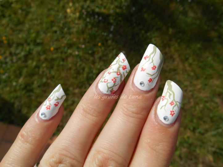 Nail art Cerisier en fleurs 5