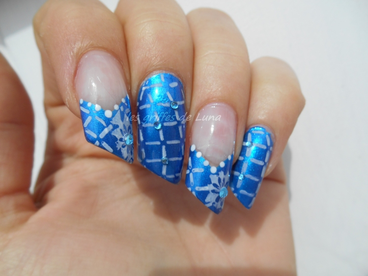 Nail art Graphic blue 4