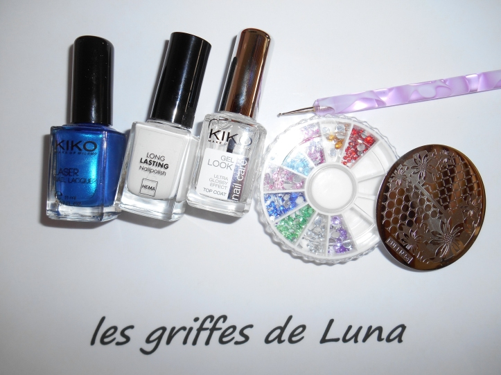 Nail art Graphic blue materiel