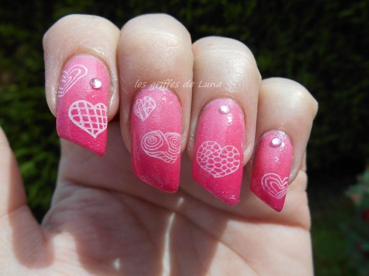Nail art Coeurs en dégradé 1