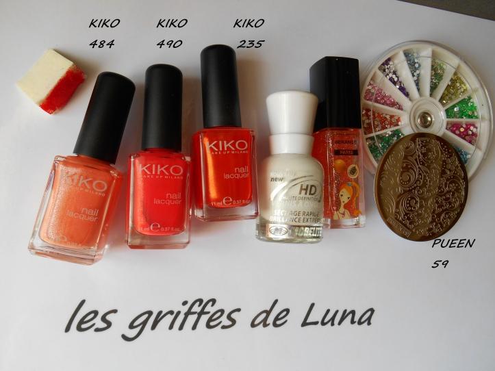 Nail art Dégradé orangé & fleurs materiel