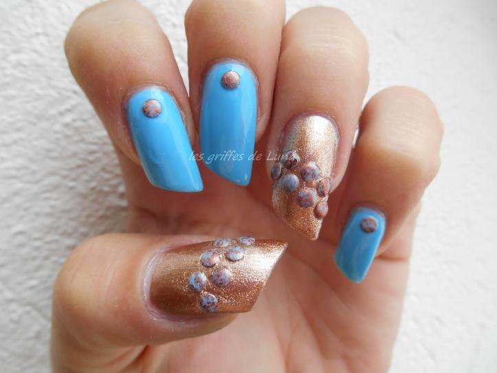 Nail art Blue vintage 3