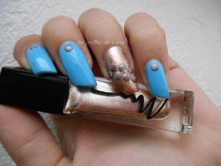 Nail art Blue vintage 5