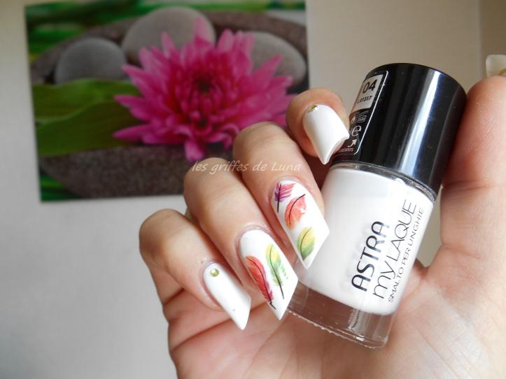Nail art Plumes colorées 1