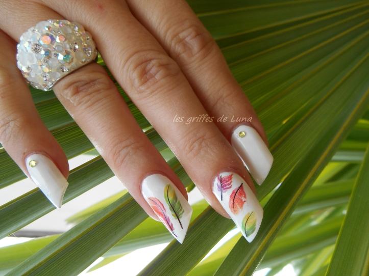 Nail art Plumes colorées 4