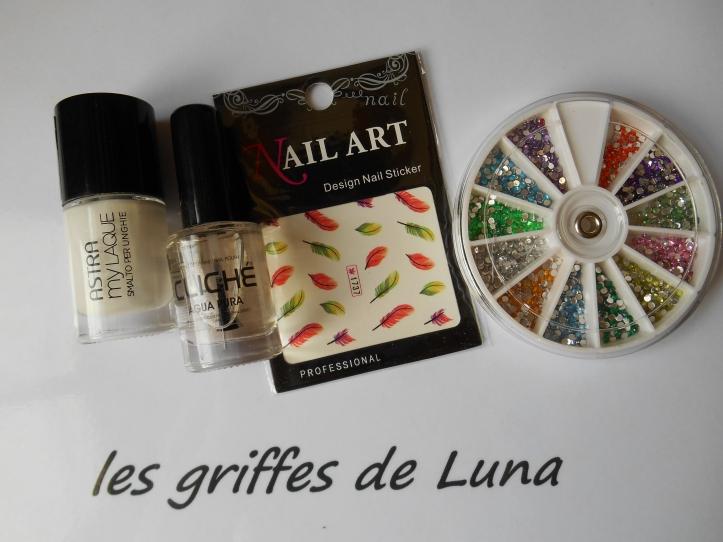 Nail art Plumes colorées materiel