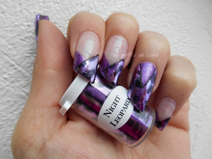 Nail art French purple léopard 1