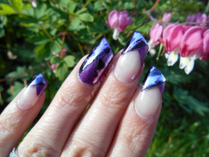 Nail art French purple léopard 2