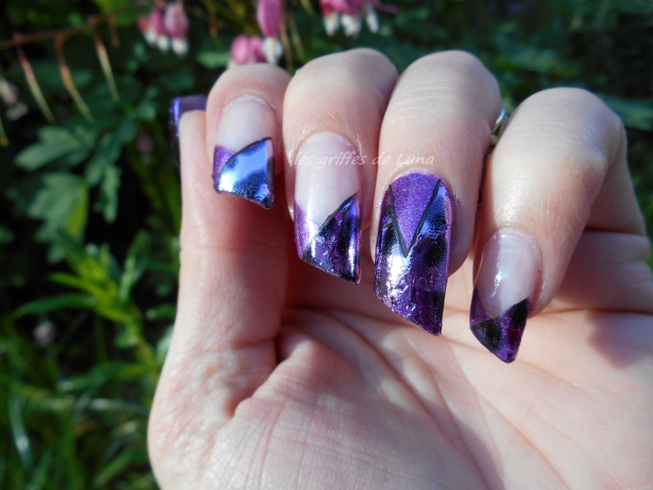 Nail art French purple léopard 3