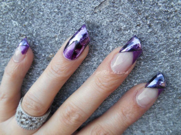 Nail art French purple léopard 4
