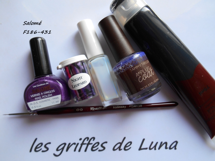 Nail art French purple léopard materiel