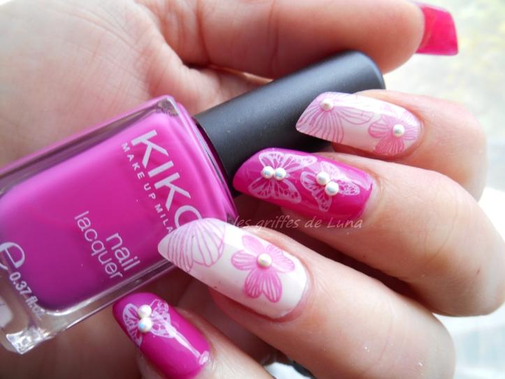 Nail art Fleurs & papillons perlés 1