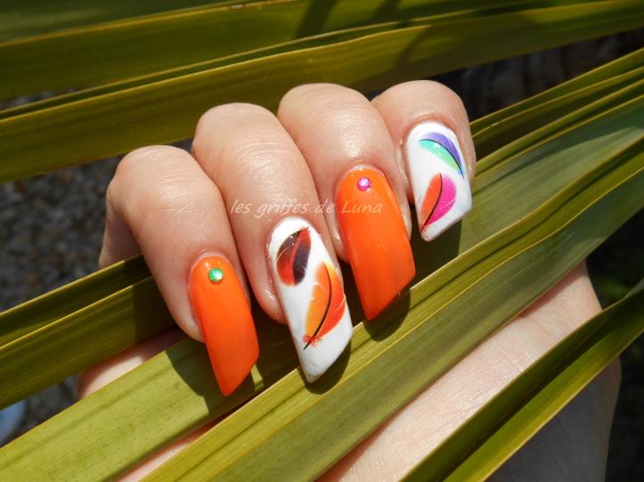 Nail art Plumes d'été 2