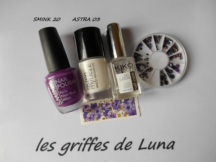 Nail art Purple flowers materiel