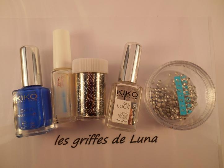 Nail art Dentelle & bleu materiel