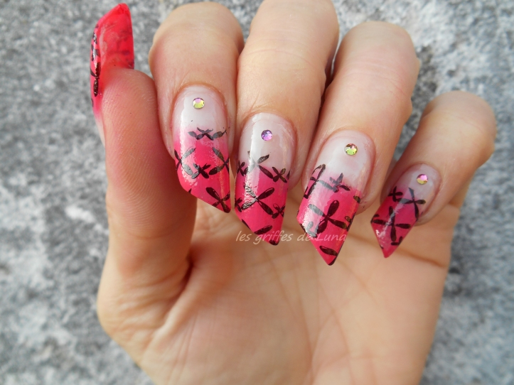 Nail art French mousse & stamping 1