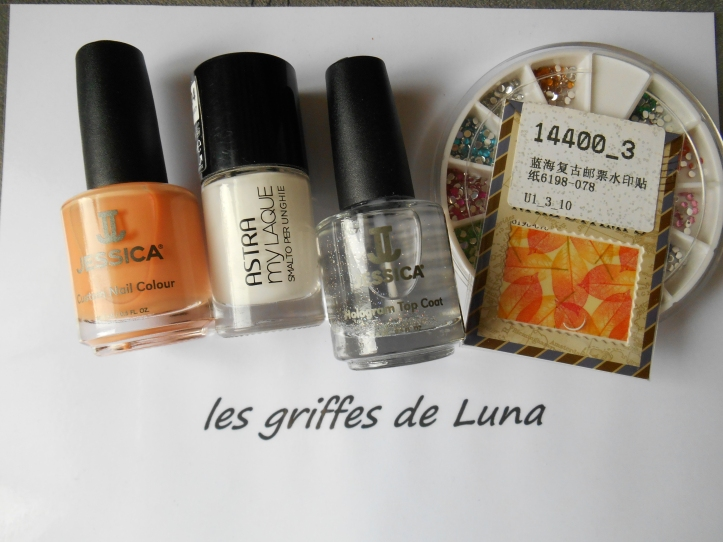 Nail art Feuillages orange materiel