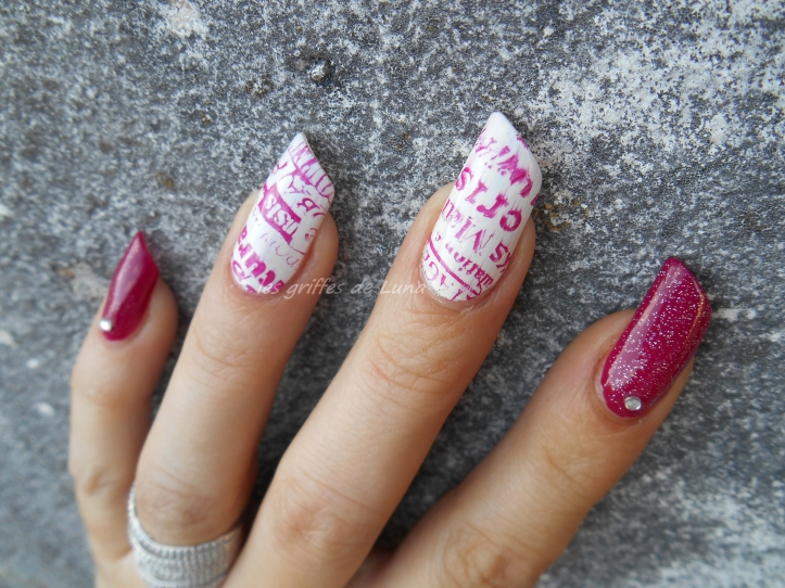 Nail art Manuscrit girly 3