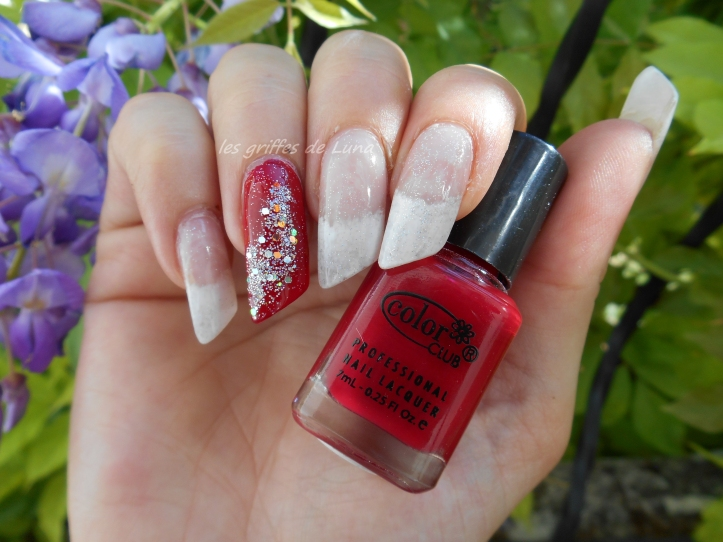 Nail art French mousse & paillettes glamour 1