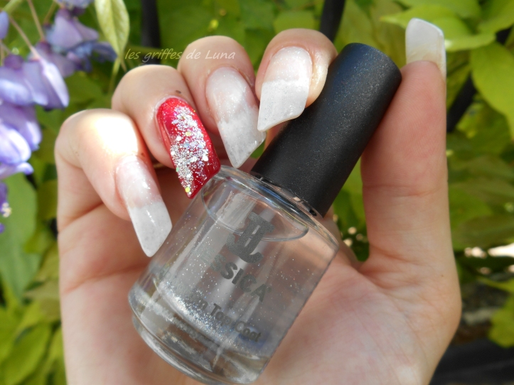 Nail art French mousse & paillettes glamour 4