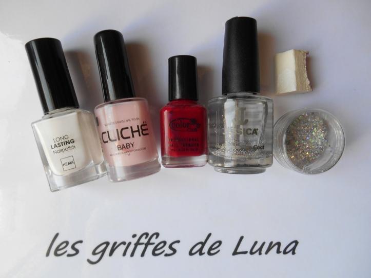 Nail art French mousse & paillettes glamour materiel