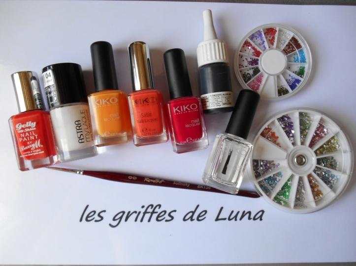 Nail art Orangé & fleurs légères materiel