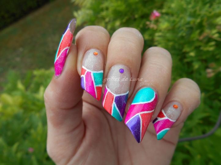 Nail art Mosaique d'été 1