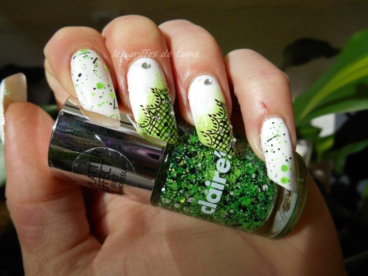 Nail art Vert & dentelle 2