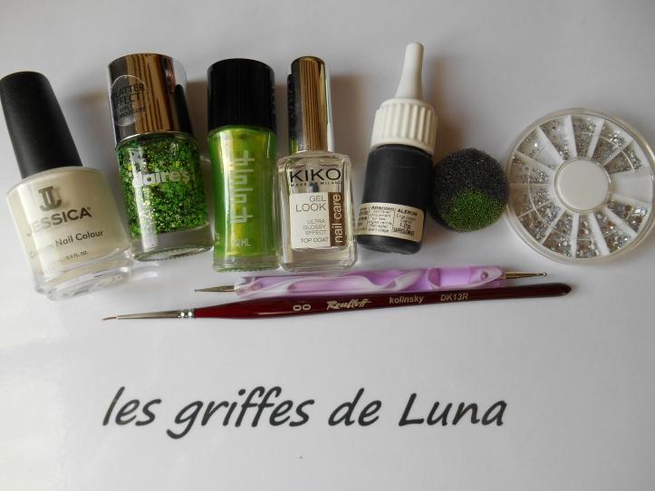 Nail art Vert & dentelle matèriel