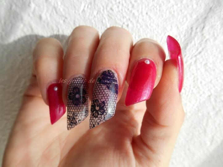 Nail art Sorbet & dentelle 1