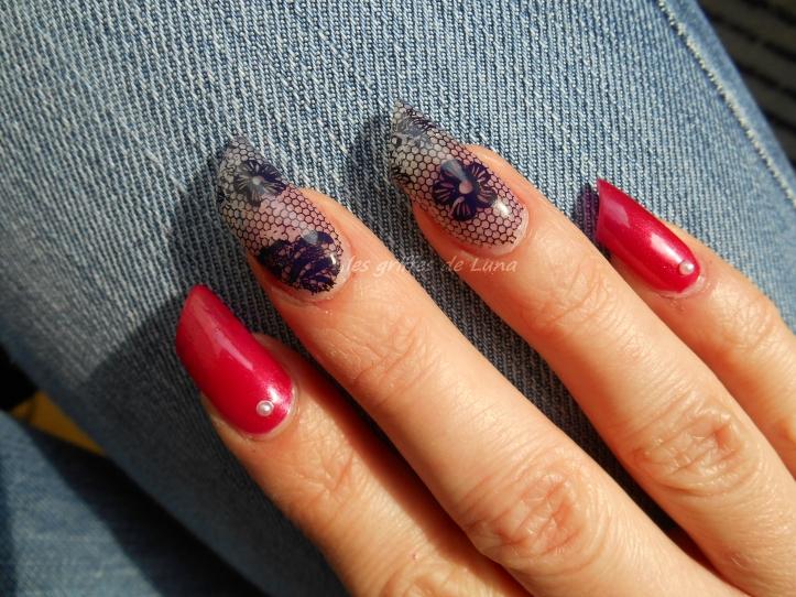 Nail art Sorbet & dentelle 2