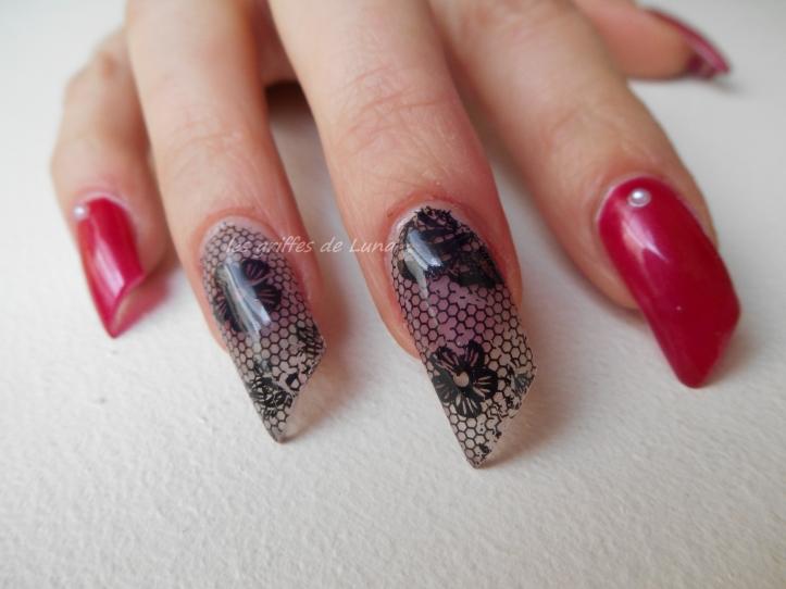 Nail art Sorbet & dentelle 3