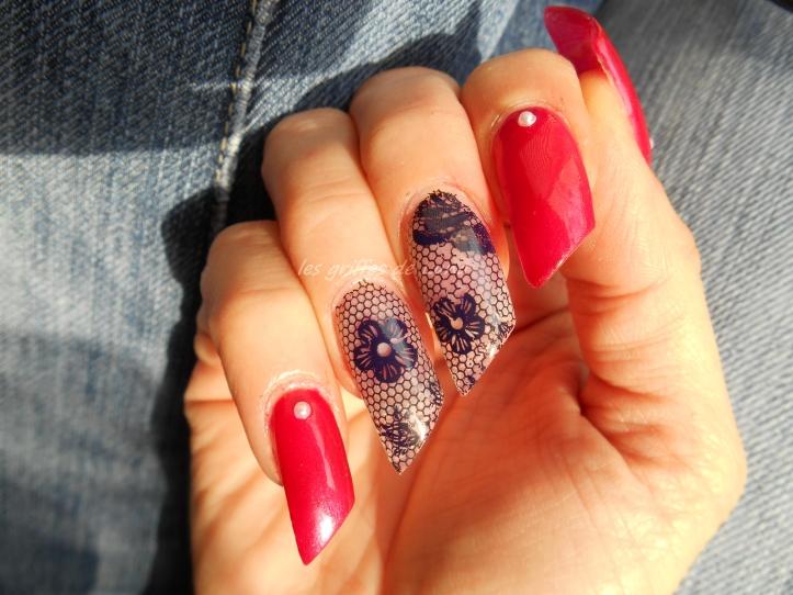 Nail art Sorbet & dentelle 4
