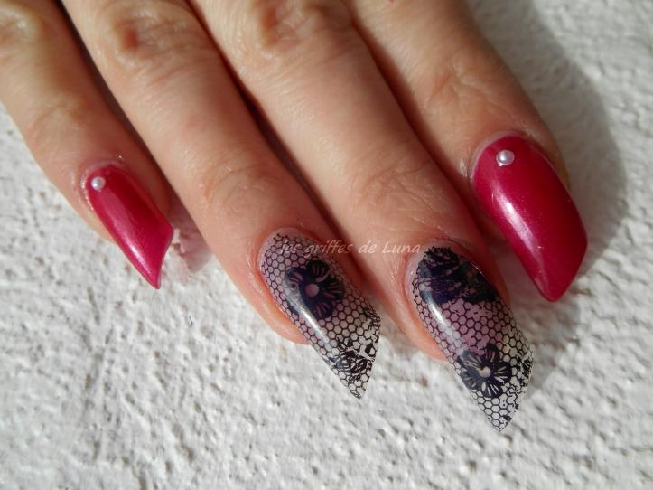 Nail art Sorbet & dentelle 5