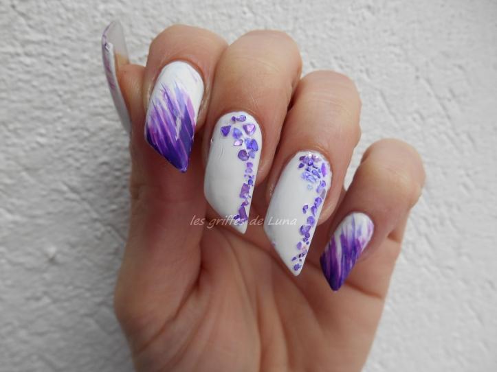Nail art Violet & nacre 1