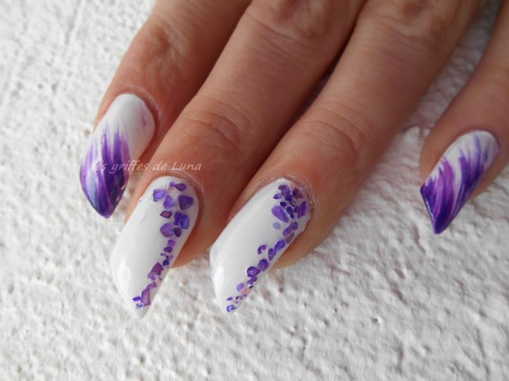 Nail art Violet & nacre 2