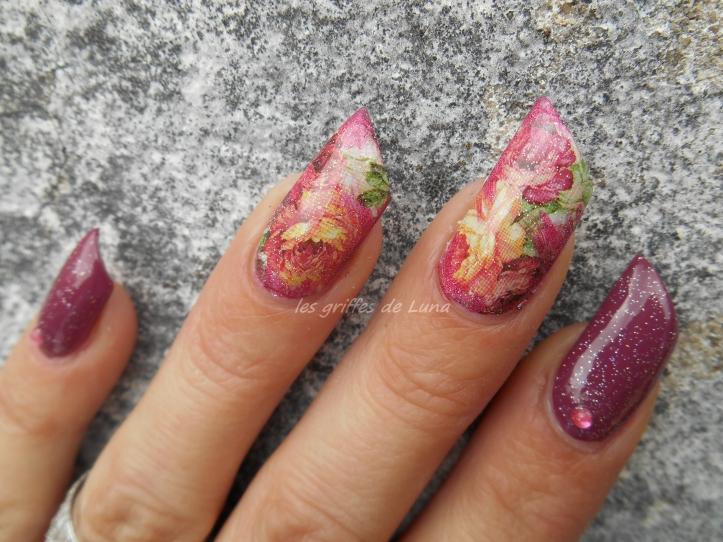 Nail art Roses vintage 3