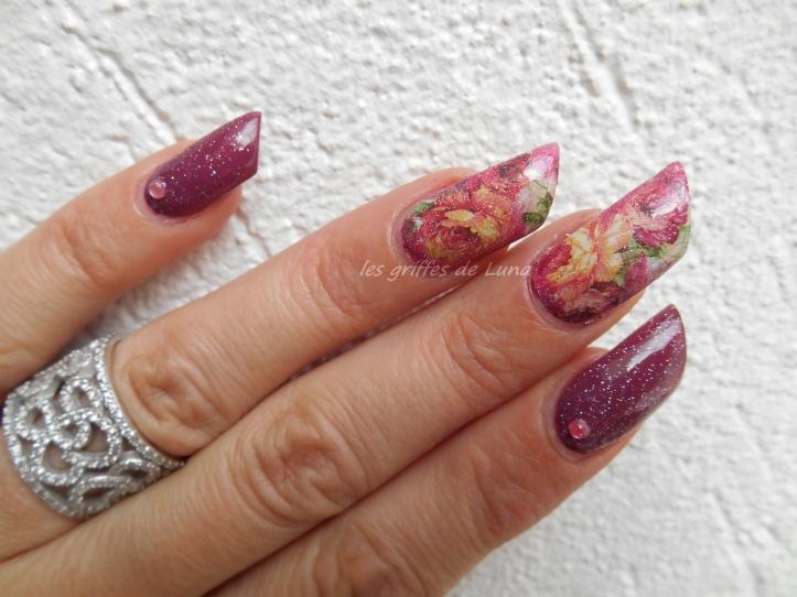 Nail art Roses vintage 4