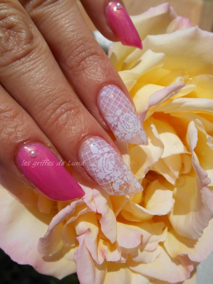 Nail art Foil dentelle blanc 2