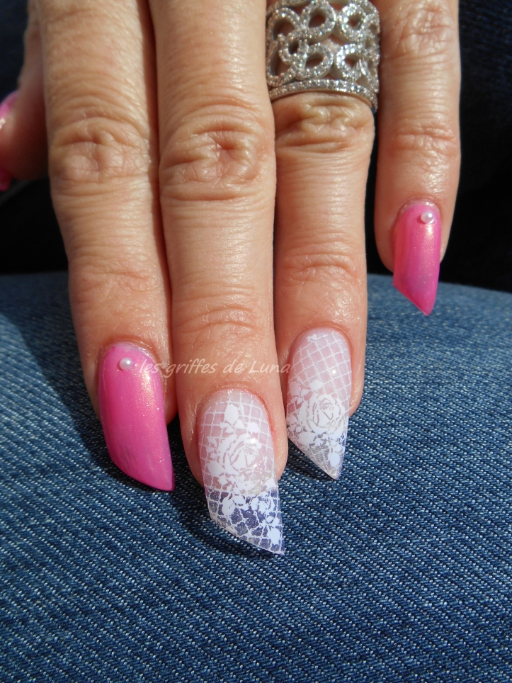 Nail art Foil dentelle blanc 4